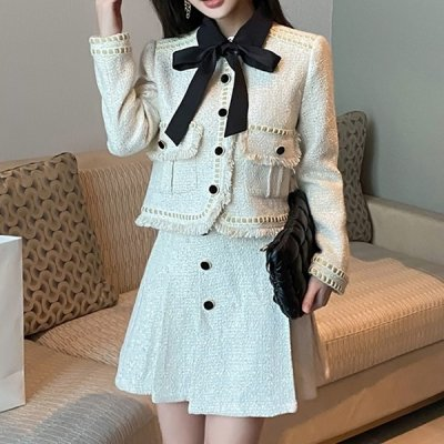 韓国セットアップ❤リボン付きジャケット&ボックスプリーツミニスカートの可愛いお嬢様系ツーピース 964098
