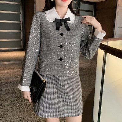 韓国セットアップ❤千鳥格子柄のジャケット&ミニスカートの可愛いお嬢様系ツーピース 964099