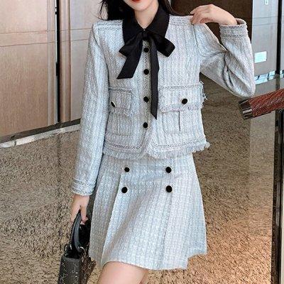 韓国セットアップ❤ジャケット&ボックスプリーツの可愛いお嬢様系ツーピース 964100