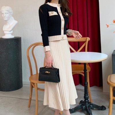 韓国セットアップ❤トップス&プリーツスカートの可愛いお嬢様系ニットツーピース 964106