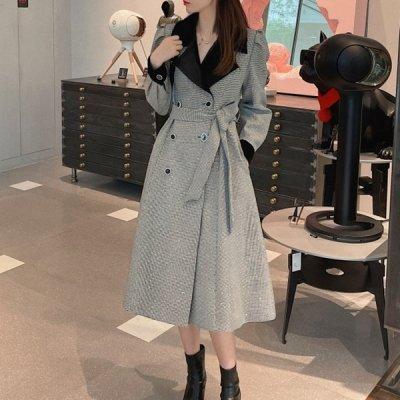 韓国アウター❤パワショルデザインの千鳥格子柄可愛いお嬢様系ロングコート 964108