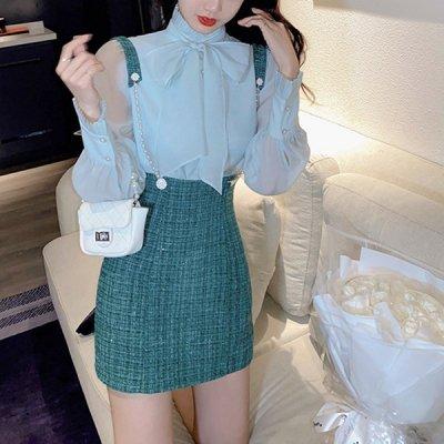 韓国セットアップ❤ビッグリボンシフォンブラウス&ツイードサロペットの可愛いお嬢様系ツーピース 964109