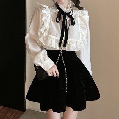 韓国セットアップ❤フリルブラウス&フレアミニスカートの可愛いお嬢様系ツーピース 964115
