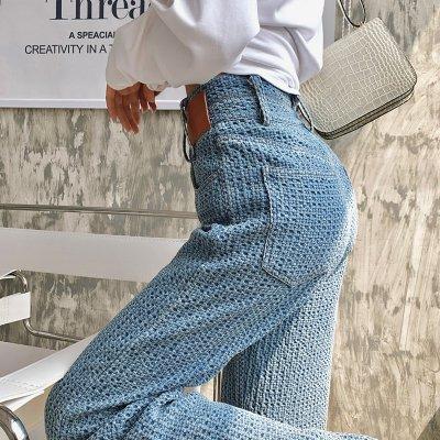 韓国ボトムス❤鍵編みデザインの個性的で可愛い韓国ワイドパンツ 964123