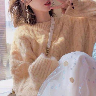 韓国トップス❤ケーブル編みの可愛いふわふわ韓国ニット 964124
