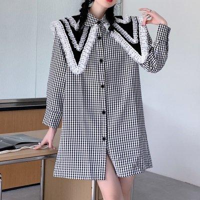 韓国ワンピース❤レースビッグ襟の可愛い韓国シャツワンピース 964130