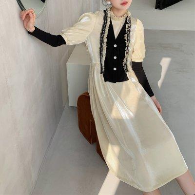 韓国ワンピース❤フリルとパールをデザインした可愛いお嬢様ワンピース 964142