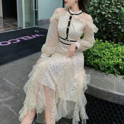 韓国ワンピース❤ふんわりチュールが可愛いお嬢様系フェアリーワンピース 964152