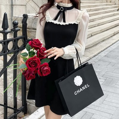 韓国ワンピース❤シフォンコンビデザインの可愛いお嬢様系フリルワンピース 964156