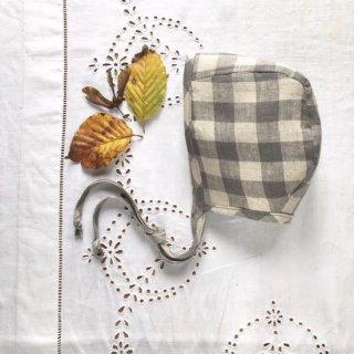 Classic Baby Bonnet Gingham Linen