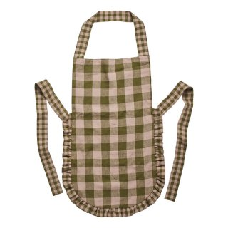 Leinikki gingham apron, olive