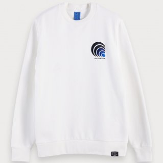 <img class='new_mark_img1' src='https://img.shop-pro.jp/img/new/icons14.gif' style='border:none;display:inline;margin:0px;padding:0px;width:auto;' />Embroidered cotton crewneck sweatshirt Ecru