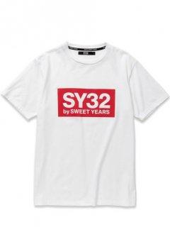 SY32 BOX LOGO TEE White×Red