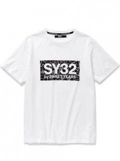 SY32 HEART BOX LOGO TEE White×Black