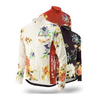 DECOJA 冬用 長袖 サイクルジャージ 花鳥(27564)