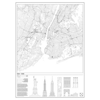 NEW YORK CITY(ニューヨーク) マップ 地図  アート ポスター  Msize - BLOCK STDO -