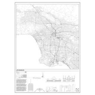 LOS ANGELES(ロサンゼルス/アメリカ)  マップ 地図 アート ポスター   Msize - BLOCK STDO -