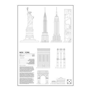 NEW YORK CITY(ニューヨーク/アメリカ) アイコン アート ポスター  Ssize - BLOCK STDO -