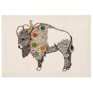 BISON WITH ORNAMENTS STATIONERY 刺繍ポストカード -Coral & Tusk(コーラル&タスク)-