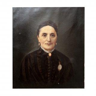 19世紀 アメリカ アンティーク ウーマン  ポートレート  キャンバス