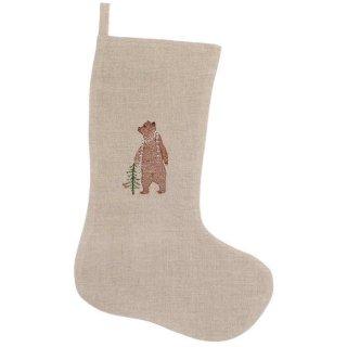 BEAR WITH PRESENT SMALL STOCKING 刺繍 クリスマス ソックス | Coral & Tusk
