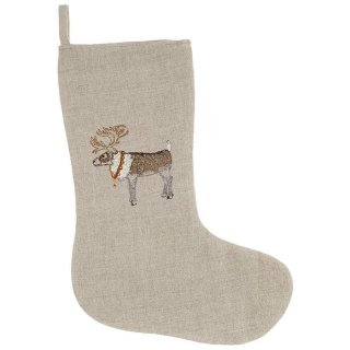 REINDEER WITH BELLS SMALL STOCKING 刺繍 クリスマス ソックス | Coral & Tusk