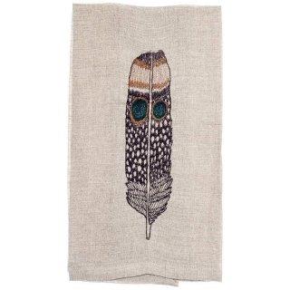 OWL FEATHER TEA TOWEL 刺繍 ティータオル 羽 | Coral & Tusk