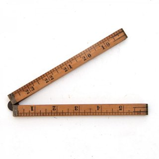 USA製 STANLEY アンティーク 折りたたみ式ルーラーA 木製/真鍮  定規(ものさし)