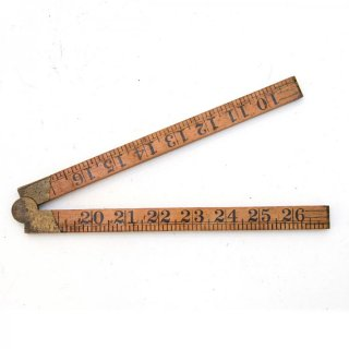 オランダ製 アンティーク 折りたたみ式ルーラーD 木製/真鍮  定規(ものさし)