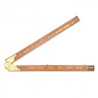 イギリス製 アンティーク 折りたたみ式ルーラーF 木製/真鍮  定規(ものさし)