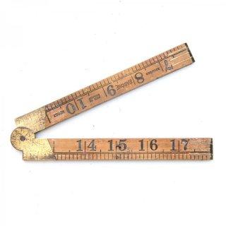 イギリス製 アンティーク 折りたたみ式ルーラーG 木製/真鍮  定規(ものさし)