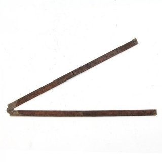 アンティーク 折りたたみ式ルーラーH 木製/真鍮  定規(ものさし)