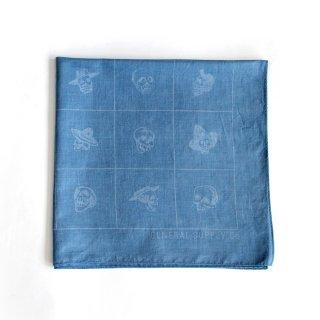 スカル バンダナ(インディゴ ライトブルー) - 藍染LITMUS(リトマス)× GENERAL SUPPLY -