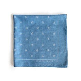ミニスカル バンダナ(インディゴ ライトブルー) - 藍染LITMUS(リトマス)× GENERAL SUPPLY -