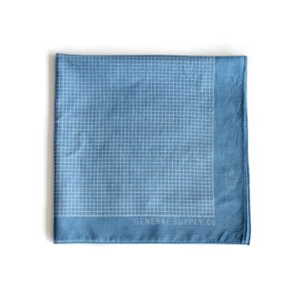 グリッド バンダナ(インディゴ ライトブルー) - 藍染LITMUS(リトマス)× GENERAL SUPPLY -