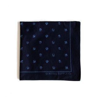 ミニスカル バンダナ(インディゴ ダークブルー) - 藍染LITMUS(リトマス)× GENERAL SUPPLY -