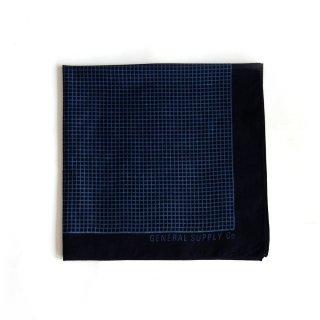 グリッド バンダナ(インディゴ ダークブルー) - 藍染LITMUS(リトマス)× GENERAL SUPPLY -