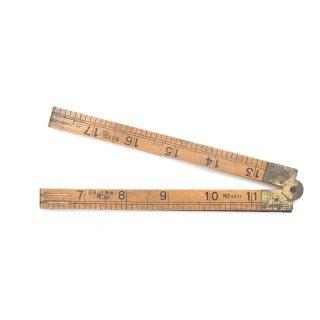 アンティーク 折りたたみ式 ルーラー 木製 真鍮 定規 ものさし J