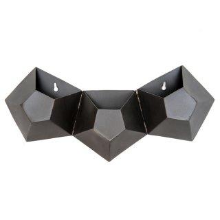 壁掛け メタル フラワー ポット 五角形 3連タイプ