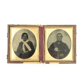 19世紀 ヴィクトリアン アンティークフォト 古写真 湿板印刷 折りたたみ式 フレームセット