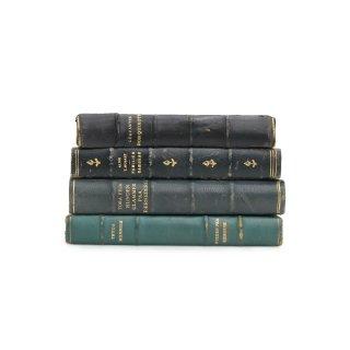 アンティーク 洋書 ・ 洋古書 4冊セット レザー ブルー