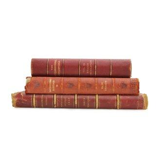 アンティーク 洋書 ・ 洋古書 3冊セット レザー レッド ラージサイズ