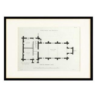 1850年代 イギリス アンティーク アート 図面 ドローイング 学校 住居 Plate19