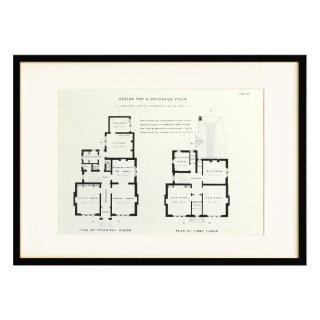 1850年代 イギリス アンティーク アート 図面 ドローイング 別荘 Plate64