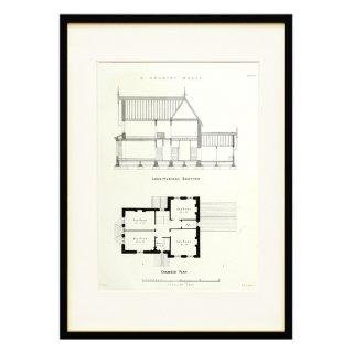 1850年代 イギリス アンティーク アート 図面 ドローイング カントリーハウス Plate90