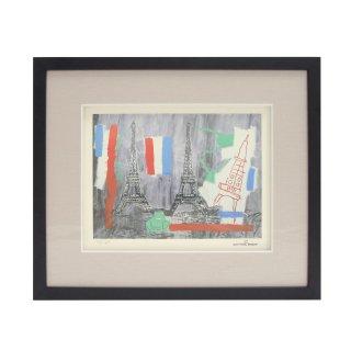 ジャン=ミシェル・バスキア , アンディ・ウォーホル  「 Eiffel Tower」 1985 リトグラフ (lithograph) アートフレームセット