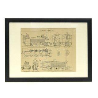 ヴィンテージ 機関車 図面 アート ドローイング フレームセット