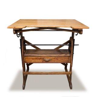 ヴィンテージ ドラフティングテーブル 製図台 インダストリアル 木製天板