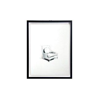 エドワード・ワームリー ヴィンテージ アート インテリア シングルソファ 丸クッション ハンドドローイング ブラックフレームセット