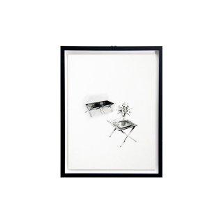 エドワード・ワームリー ヴィンテージ アート インテリア スツール サイドテーブル ハンドドローイング ブラックフレームセット